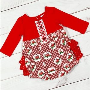 Swoon baby bubble red 24 months girl baby ruffle